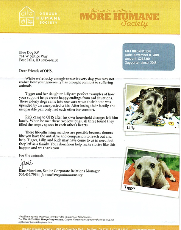 Letter from Humane Society